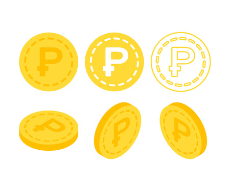 Ruble 3d flat isometric money. Set of icons coins on the isolated white background.