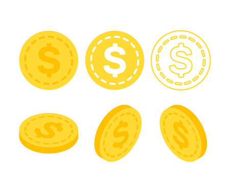 3d flat isometric money. Set of icons coins on the isolated white background. Illustration