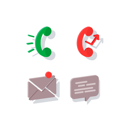 Isometric icon. Flat icon phone. Contact information icons: mail, phone and chat. Devices icons. Devices icons