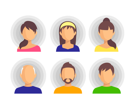 People Icon Isolated Background. Set of flat icons of people. User sign icon. Person symbol.