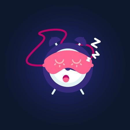 Sleeping alarm. Mask for sleep is on alarm clock. Vector Illustration