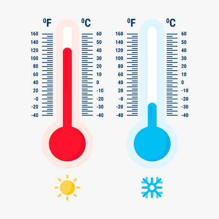 Thermometer equipment showing hot or cold weather icon.Thermometers measuring heat and cold, vector illustration logo. Illustration