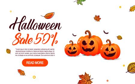 Halloween sale offer design template.
