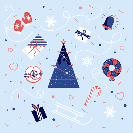 snow cardinal: A selection of patterns for packaging, postcards, background. Seamless New Years background. Illustration