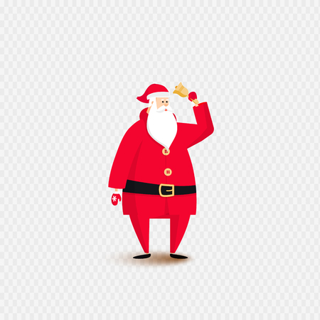 Santa claus with bell on isolated background for posters, postcards, banners