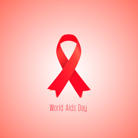 aids awareness ribbon: World AIDS day in December 1 Vector illustration Illustration