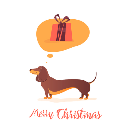 Dog thinks about gift Illustration for the holidays. Happy Red dog with gifts