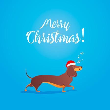 빨간색 산타 클로스 모자를 입고 닥 스 훈 트 크리스마스 또는 새 해 2018 디자인 크리스마스 벡터 일러스트 레이 션