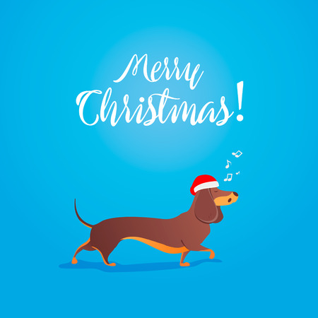 Dachshund wearing red Santa Claus hat dances Christmas vector illustration for Christmas or New Year 2018 design Иллюстрация