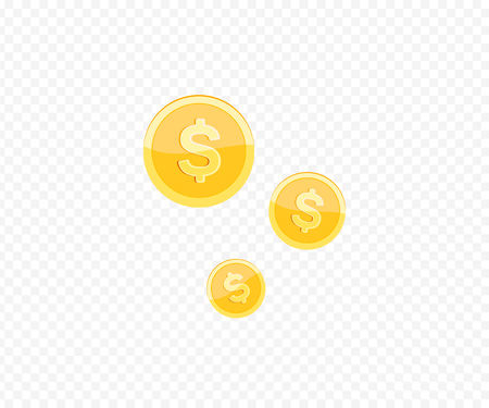 3d realistic gold coin icon. Vector illustration isolated on white background.