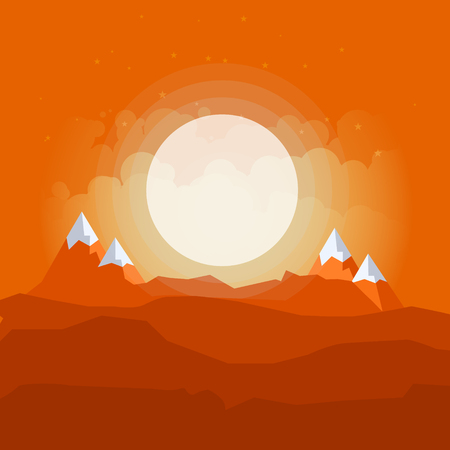 Landscape with Mountain Peaks. Pine Forest. Mountaineering and Traveling Vector Illustration. Illustration
