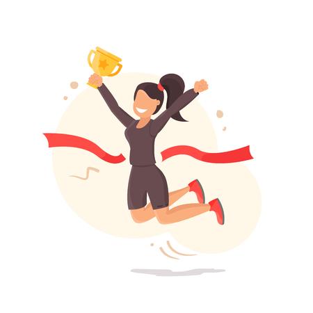 Concepto de vector de logro meta, estilo plano mujer exitosa feliz celebración de premio de la taza de oro en la mano