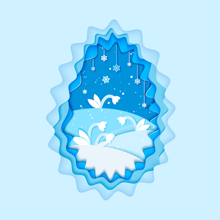 Winter illustration paper cut flowers in snow and snowflakes.