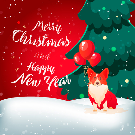 Merry Christmas card in colorful design isolated on white patter with abstract elements and holiday mood.