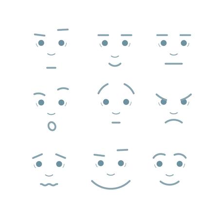 Vector illustration Cartoon facial expressions set Çizim