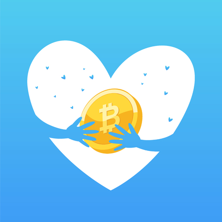 Coin concept. Illustration of a heart with a bitcoin icon. Crypto currency logo sigh.