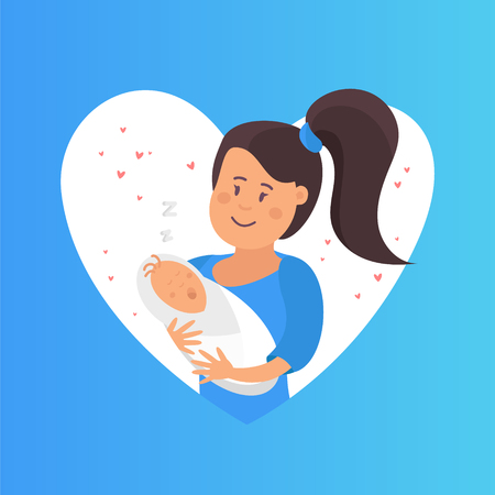 Mother and baby, tender hugs of mother and her child. Mom hugs her child template.