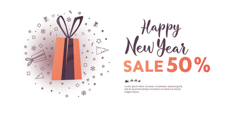 New Year vector banner with special offer 50 percent off. Christmas big sale poster Illustration