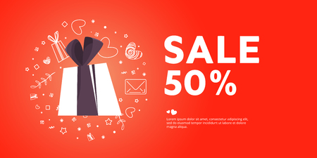 Sale poster with gifts for Valentine's Day. Sale of Valentine's Day. 50 off.