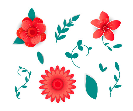 Paper cut art. Vector set flowers for design   You can use the mailing list on the website, in promotional campaigns. Illustration