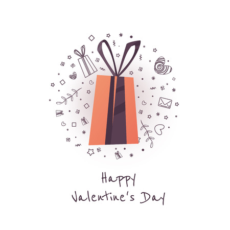 Valentines day text with gift. The banner can be used in mailings, magazine promotions. There is a place text. Çizim