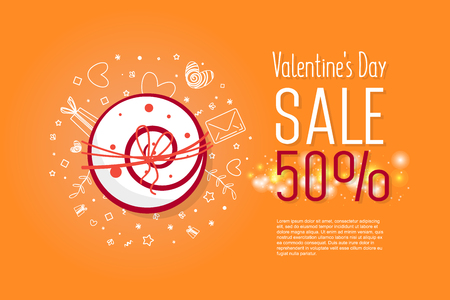 Beautiful flyer with happy valentines day sale text. Banner can be used for wedding invitations, printed on a T-shirt, bag, promotions, banner. Illustration