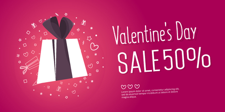 Valentines day sale text with gift. The banner can be used in mailings, magazine promotions. There is a place text.