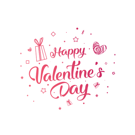 Valentine's day sale text with gift. The banner can be used in mailings, magazine promotions. There is a place text. Stok Fotoğraf - 93512486