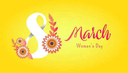 Color flyer for March 8 with the decor of paper cut flowers.Happy Womens Day. Trendy Design Template. Vector illustration