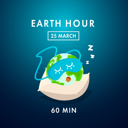 Illustration of Earth hour. Save our planet. Flat design vector illustration for web banner, web and mobile, infographics. Vector Illustration