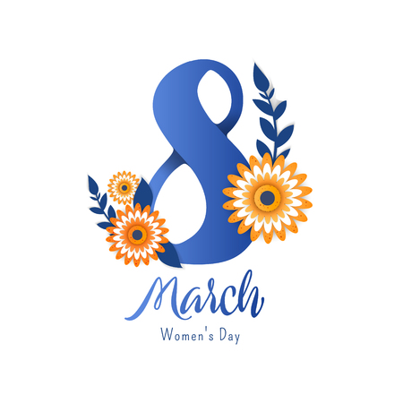 Bright flyer for March 8 with the decor of paper cut flowers. Trendy Design Template. Vector illustration Illustration