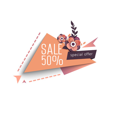 Valentines Day Sale banner template design. 50 percent discount.  Vector illustration.