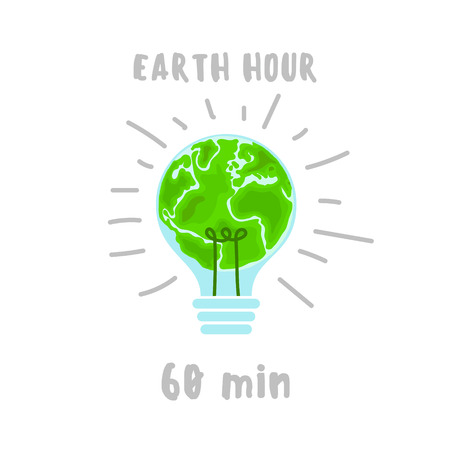 Illustration of Earth hour. 60 minutes.  Flat design vector illustration for web banner, web and mobile, infographics. Vector Vettoriali