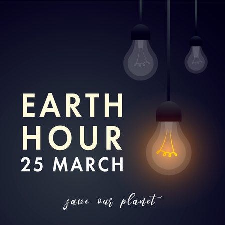 Illustration of Earth hour. 25 march. The aim of the company is to prevent climate change and protect the planet.