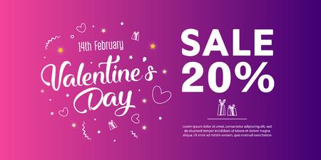 Valentine's Day Sale banner template design. 20 percent discount.  Vector illustration. Vectores