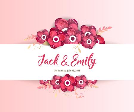 Lente sieraad concept. Bloemenposter, uitnodigen. Creatieve delicate bruiloft uitnodiging sjablonen Stock Illustratie