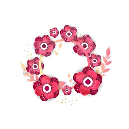 concepto de ornamento de primavera. círculo floral floral. plantilla caligráfica invitación de la boda creativa