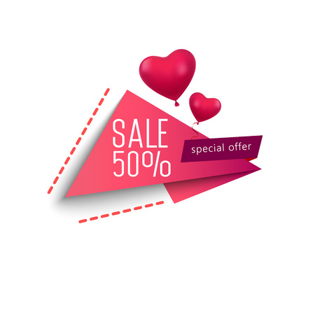 Illustration of love and valentine day. Sale 50 percent discount. Paper art and craft style.