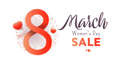 Sale banner. Trendy Design Template. 8 march. Bright flyer with the decor of paper cut flowers. Vector illustration.