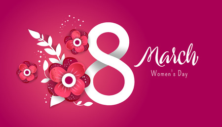 8 march. Bright flyer with the decor of paper cut flowers. Womens Day. Trendy Design Template. Vector illustration Ilustração