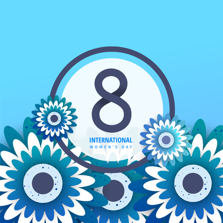 International womens day flyer. 8 number with blue paper cut flowers vector illustration. Trendy Design Template.