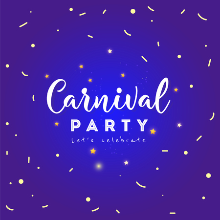 Carnival party concept banner with confetti on shiny background. Fat Tuesday. Vettoriali