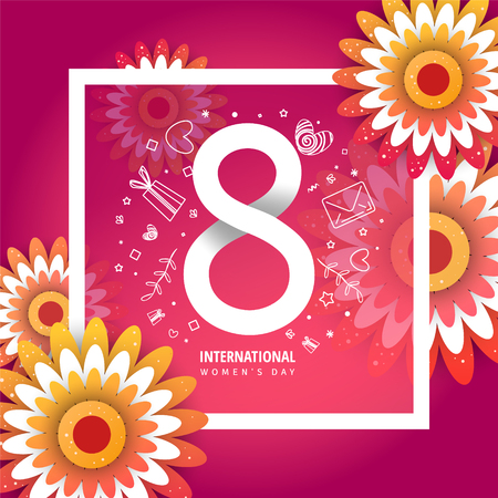 International women's day flyer. 8 number with rose paper cut flowers vector illustration. Trendy Design Template.