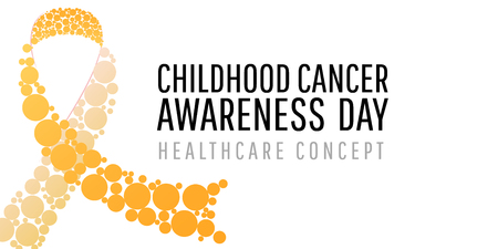 Banner for childhood cancer awareness day with realistic yellow circle ribbon, vector illustration.