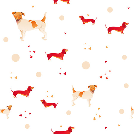 simple modern seamless pattern with dog and sausage cartoon