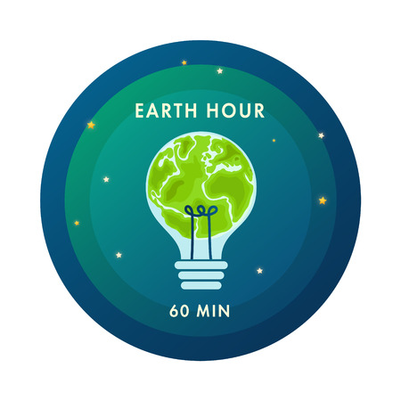 Earth hour light bulb in the form of earth. Flat design vector illustration for web banner, web and mobile, infographics.