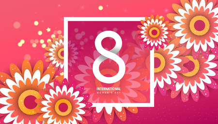 International women's day flyer. 8 number with red paper cut flowers vector illustration. Trendy Design Template.