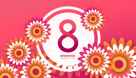International womens day flyer. 8 number with red paper cut flowers vector illustration. Trendy Design Template. Illustration