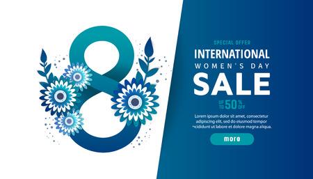 International women's day sale poster. Color flowers in style paper cut. Trendy Design Template. Ilustração