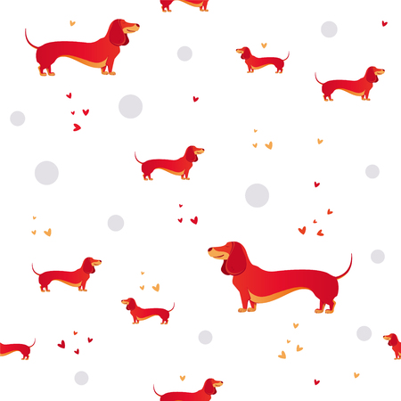 Simple modern Seamless pattern with red dog and and heart.  Cartoon pattern. The template for the cover fabric, books. Modern design for the fabric.